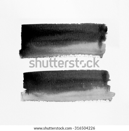 Hand painted of black watercolor brush strokes background on white watercolor paper. - stock photo