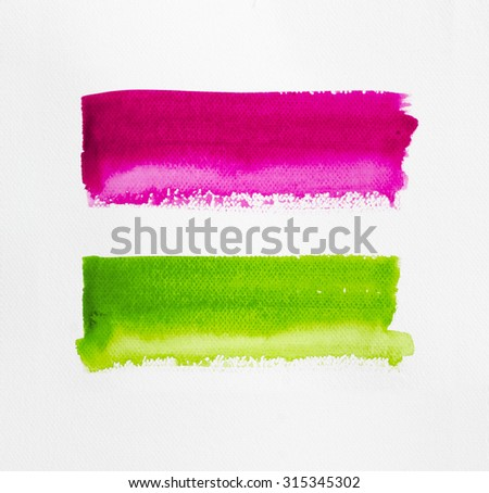 Hand painted of watercolor brush strokes background on white watercolor paper. - stock photo