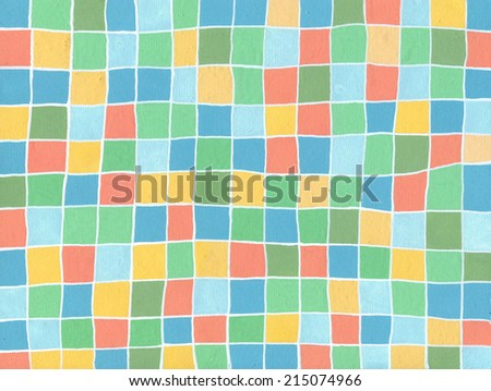 Hand painted on canvas background, a mosaic tile / Pastel Mosaic Tile Background / scan of a painting