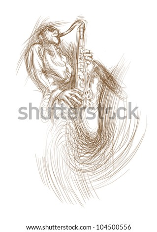 Hand-painted picture, digital painting in shades of brown - jazz man playing the saxophone. - stock photo