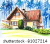Hand painted picture of house close to forest.Picture I have created with watercolors. - stock vector