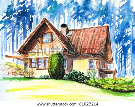 Hand painted picture of house close to forest.Picture I have created with watercolors. - stock photo
