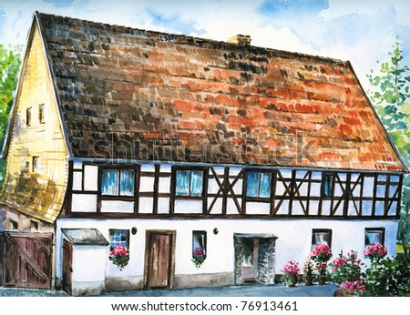 Half timbered house stock images royalty free images for Small houses in germany