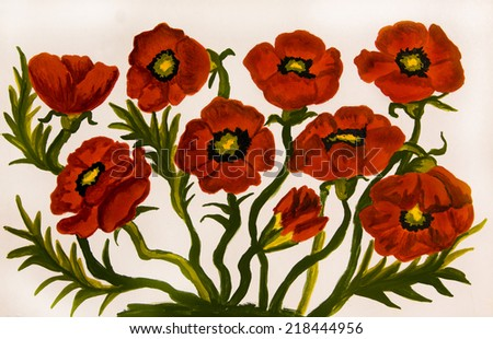 Hand painted picture, oil painting, red poppies on white background. - stock photo