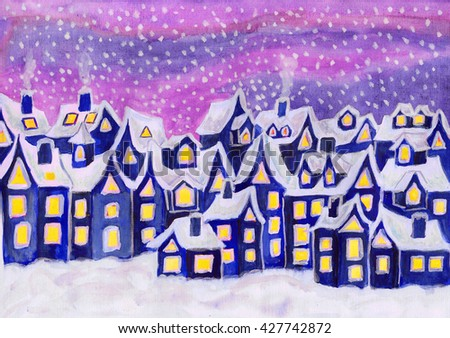 Hand painted picture, watercolours, Dreamstown in blue colours. Can be used as illustration for children's books, fairy tales, Christmas illustration, etc.  - stock photo