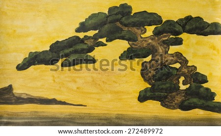 Hand painted picture, watercolours - pine tree on yellow background, copy of old classical Japanese painting. - stock photo