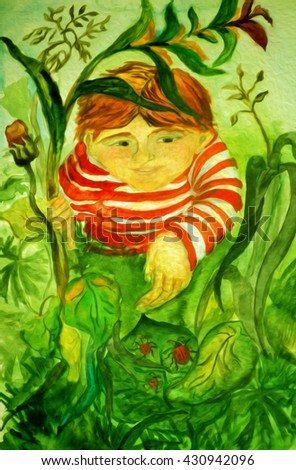 hand painted scenic watercolor illustration, which depicts abstract boy lying in the grass and looked at ladybirds - stock photo