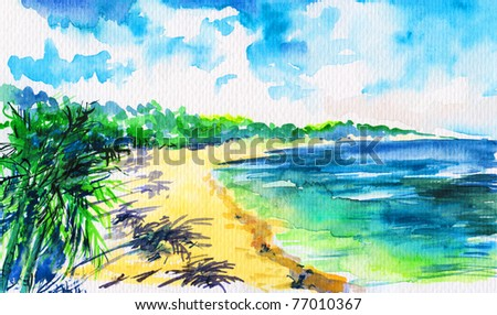 Hand painted  tropical beach with green palm trees on white sand under blue sky. - stock photo