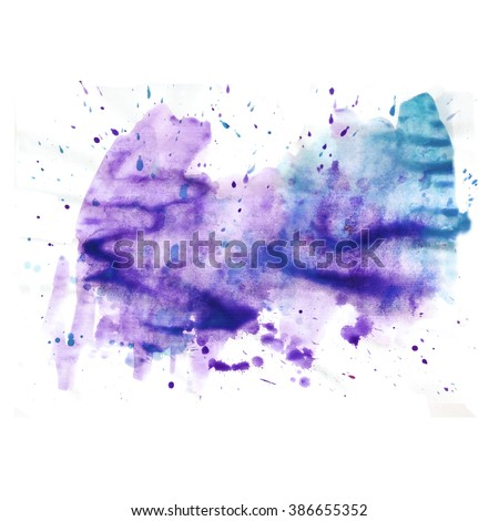 Hand painted watercolor background. Watercolor wash.black, white, blue, lilac, turquoise, purple - stock photo