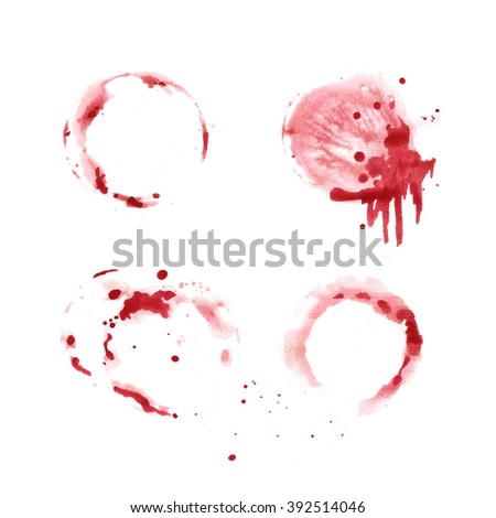 Hand painted watercolor background. Wine glass. Red wine marks and stains