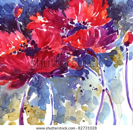 Hand-painted watercolor floral illustration - stock photo
