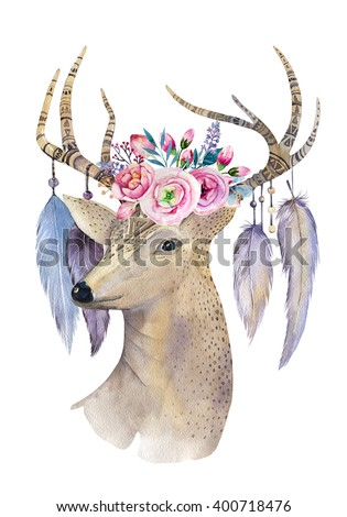 Hand painted watercolor illustration isolated on white background. Watercolour deer head, flowers, arrows and feathers.Decoration mammal. Save the date card.bohemian, hipster animal. T-shirt    - stock photo