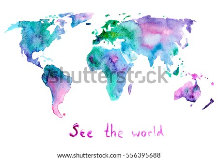 Hand Painted Watercolor Map World Isolated Stock Illustration ...