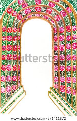Muslim Prayer Rug Islamic Textile Mosque Stock Vector