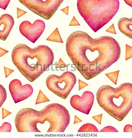 Hand painted watercolor seamless texture with colorful heart confetti and glazed donuts. Aquarelle repeating background  with hearts, triangles and donuts. Cute pink bright pattern. - stock photo