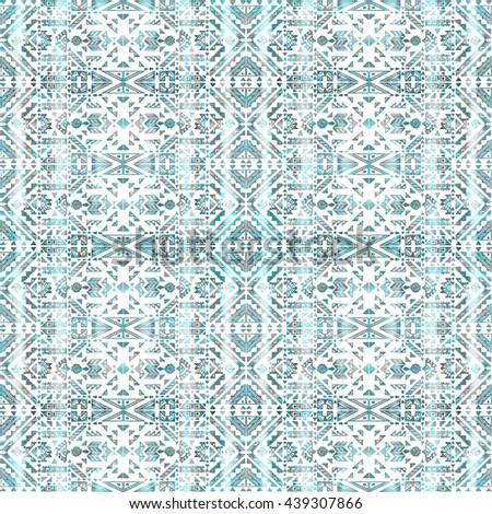 Hand painted watercolor seamless tribal pattern