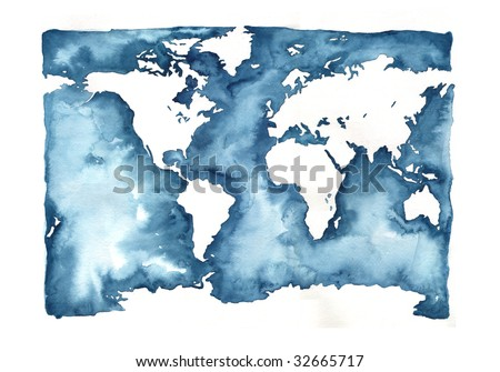Hand Painted World Map- Watercolor - stock photo