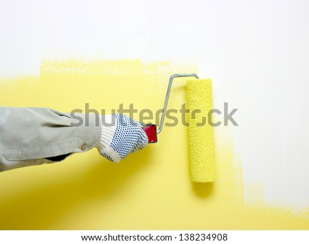 Hand Painting White Wall Paint Roller Stock Photo 138234908 ...