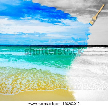 Hand painting beautiful sunny tropical beach on the island paradise in the middle of the sea - stock photo