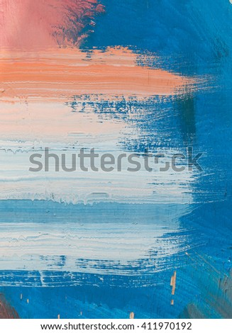 Hand painting blue and white abstract art painting - stock photo
