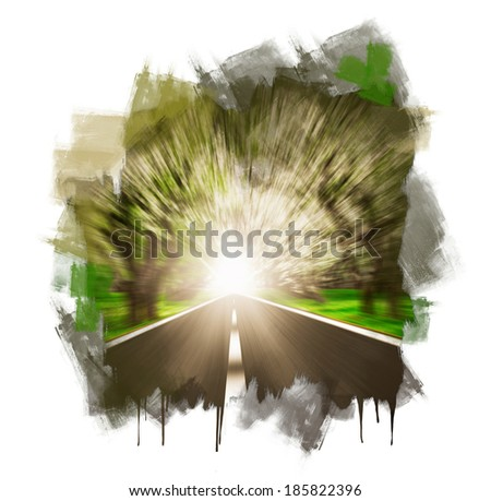 Hand painting Express road disappearing over the horizon to the sun - stock photo