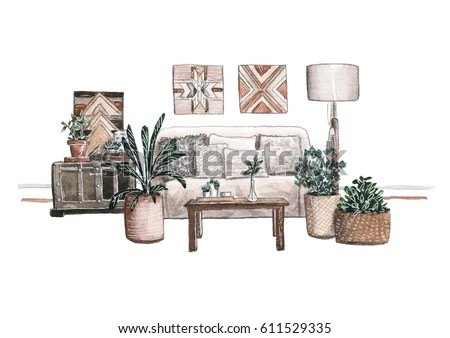 Hand Painting Watercolor Interior Illustration Of A Cozy Living Room With Sofa And Cushions Wooden