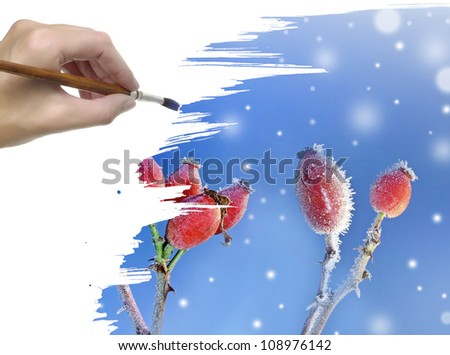 hand painting winter background with frozen hips - stock photo