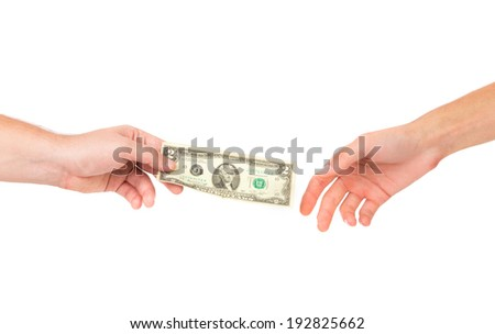 Hand passing money. Isolated on a white background. - stock photo