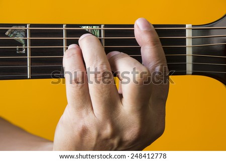 Hand Performing F Chord On Guitar Stock Photo (Edit Now) 248412778 ...