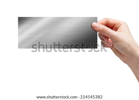 Hand picking plate on white background