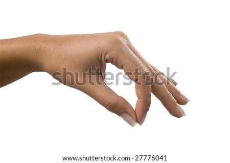 Hand picking up isolated over white - stock photo