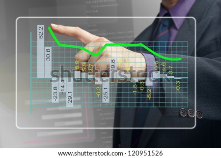 Hand point at the top of the graph on screen - stock photo