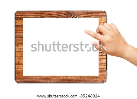 Hand  point on digital tablet pc wood mount isolated on white. - stock photo