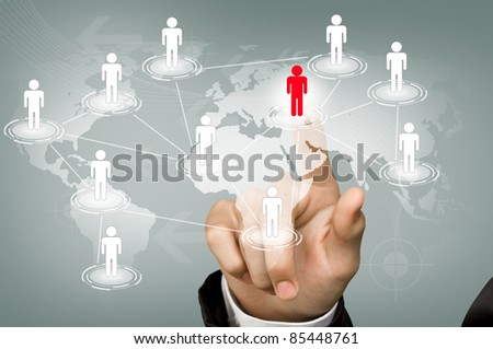 Hand point red man of Social Network - stock photo