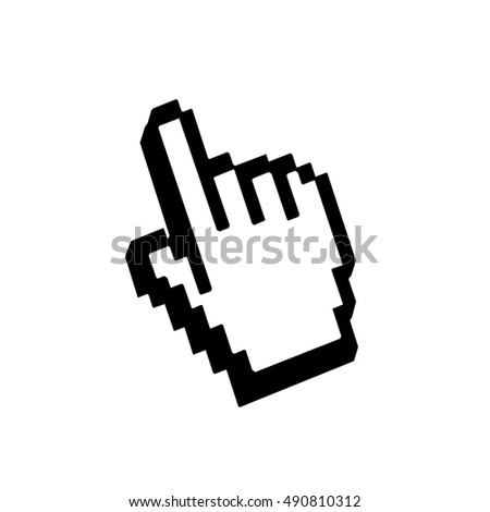 Hand pointer sign. Cursor mouse web icon. Pixelated click button. Black element, isolated on white background. Symbol arrow, computer, technology and website, internet, connection. illustration
