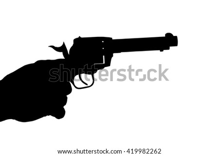 hand pointing a revolver silhouette isolated over a white background with a clipping path at original size - stock photo