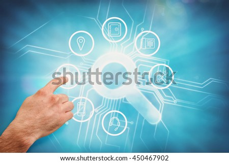 Hand pointing against abstract background