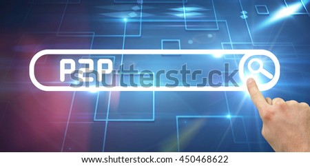 Hand pointing against black background with shiny squares - stock photo