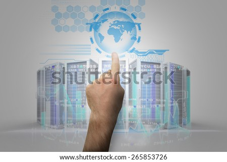 Hand pointing against stock market interface - stock photo
