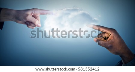 Hand pointing against white background against purple vignette