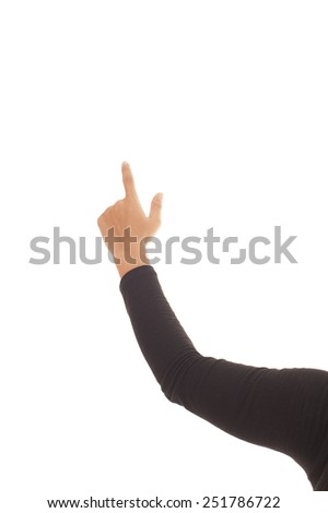 Hand pointing at the wall isolated white background.