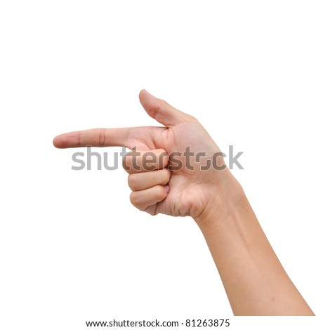 Hand pointing direction isolated on white background - stock photo
