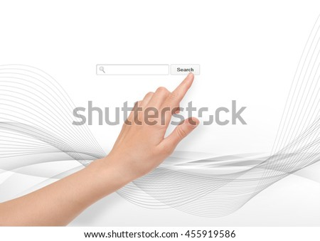 Hand pointing finger search input field content internet - stock photo