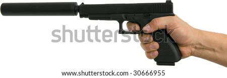 hand pointing gun with silencer isolated on white - stock photo