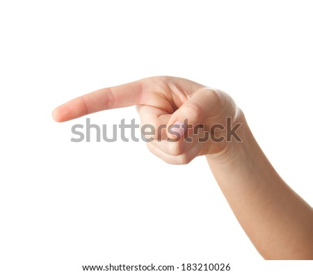 Hand pointing isolated on white. - stock photo
