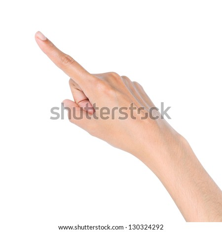 Hand pointing on white background - stock photo