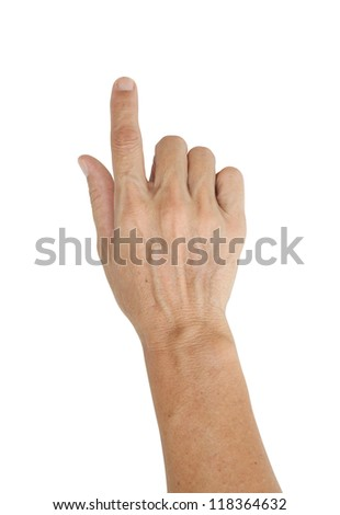 Hand pointing or press button isolated on white background - stock photo