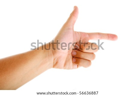 Hand pointing over white background. Isolated image - stock photo