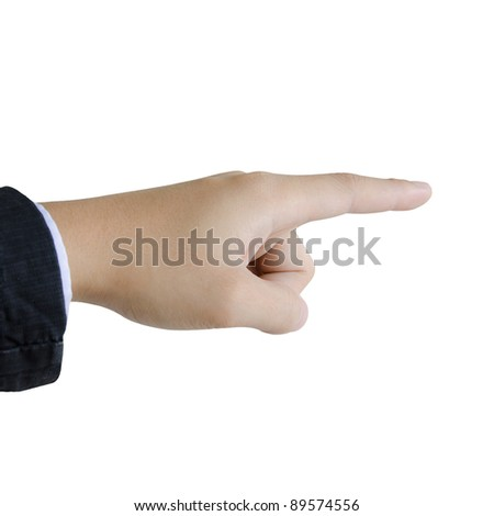 hand pointing pressing or touching isolated on white background. - stock photo