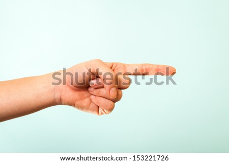 Hand pointing right concept